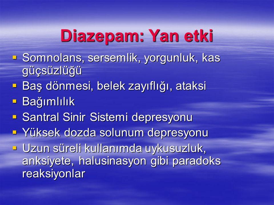 Diazepam: Yan etki Somnolans, sersemlik, yorgunluk, kas güçsüzlüğü
