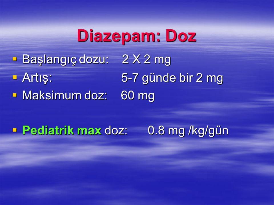 Diazepam: Doz Artış: 5-7 günde bir 2 mg Başlangıç dozu: 2 X 2 mg