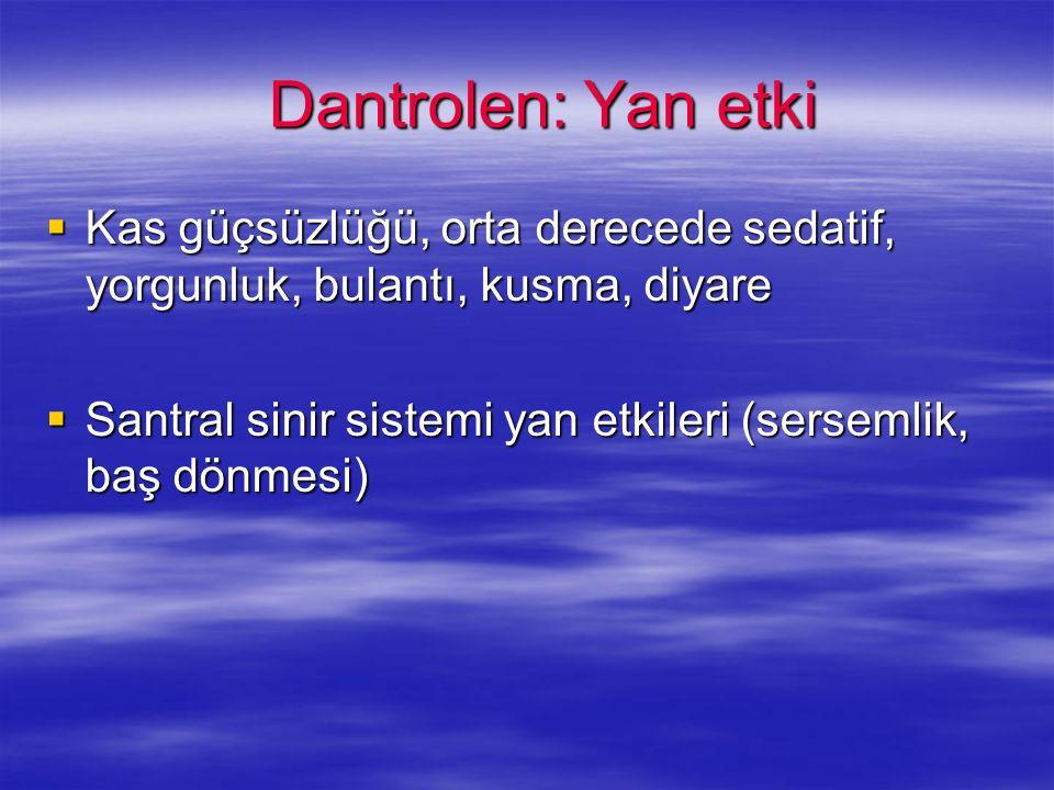 Dantrolen: Yan etki Kas güçsüzlüğü, orta derecede sedatif, yorgunluk, bulantı, kusma, diyare.