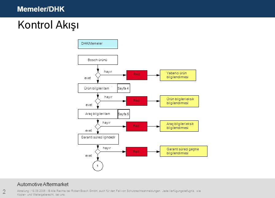 Kontrol Akışı Memeler/DHK Automotive Aftermarket Bosch ürünü