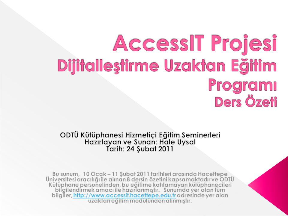 AccessIT Projesi Dijitalleştirme Uzaktan Eğitim Programı Ders Özeti