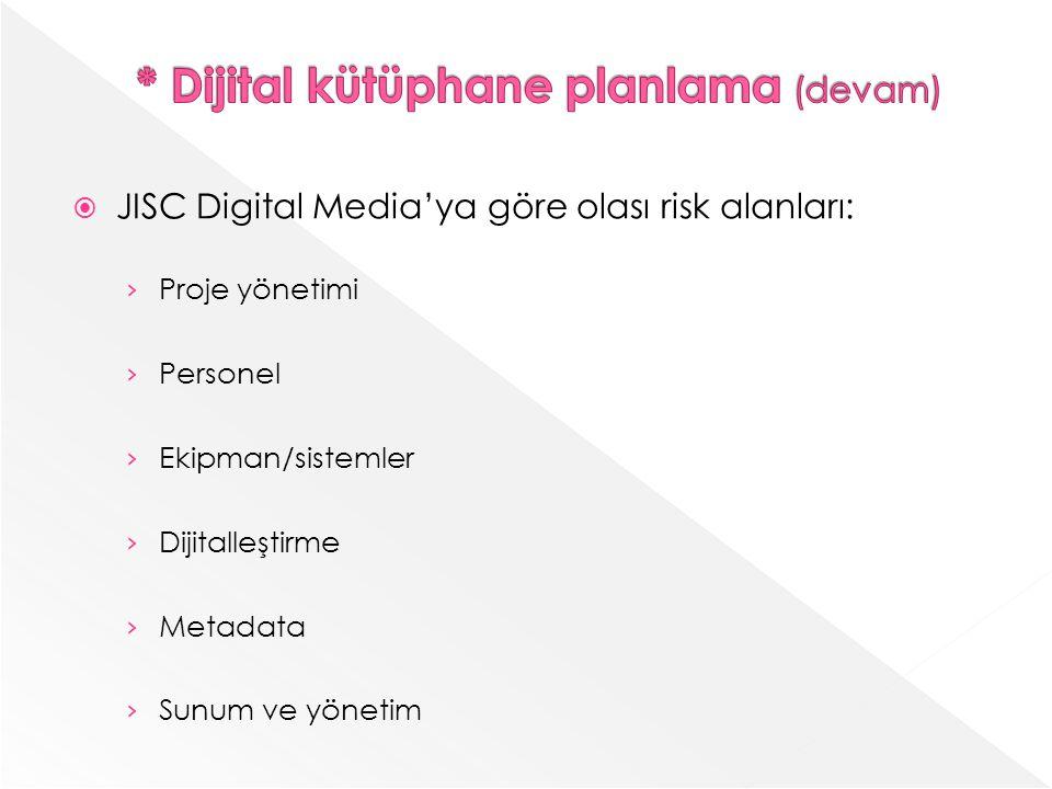 * Dijital kütüphane planlama (devam)