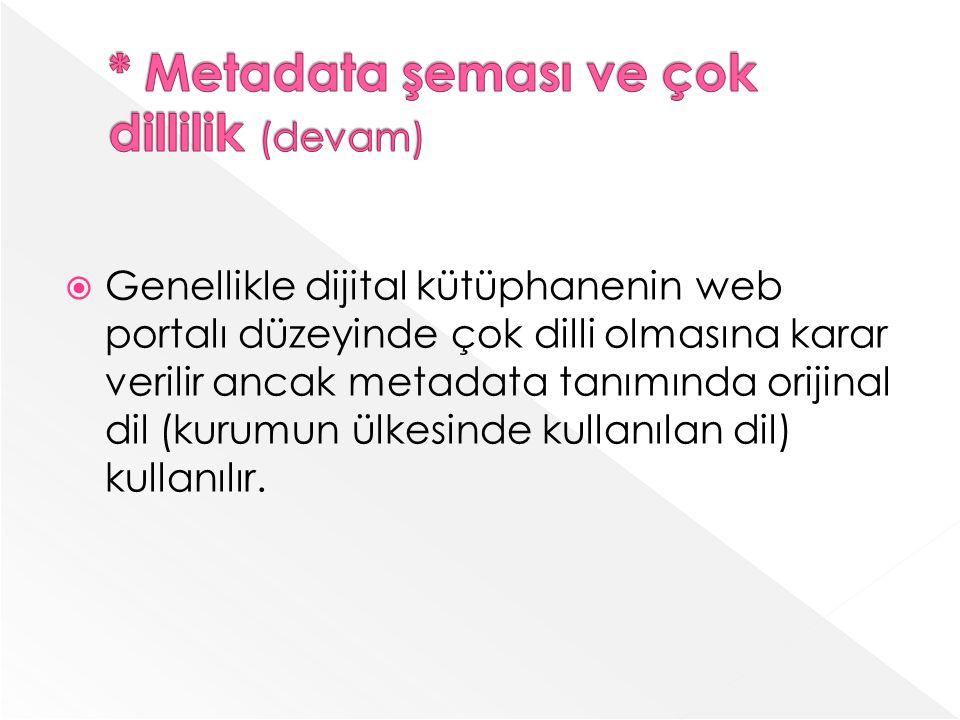 * Metadata şeması ve çok dillilik (devam)