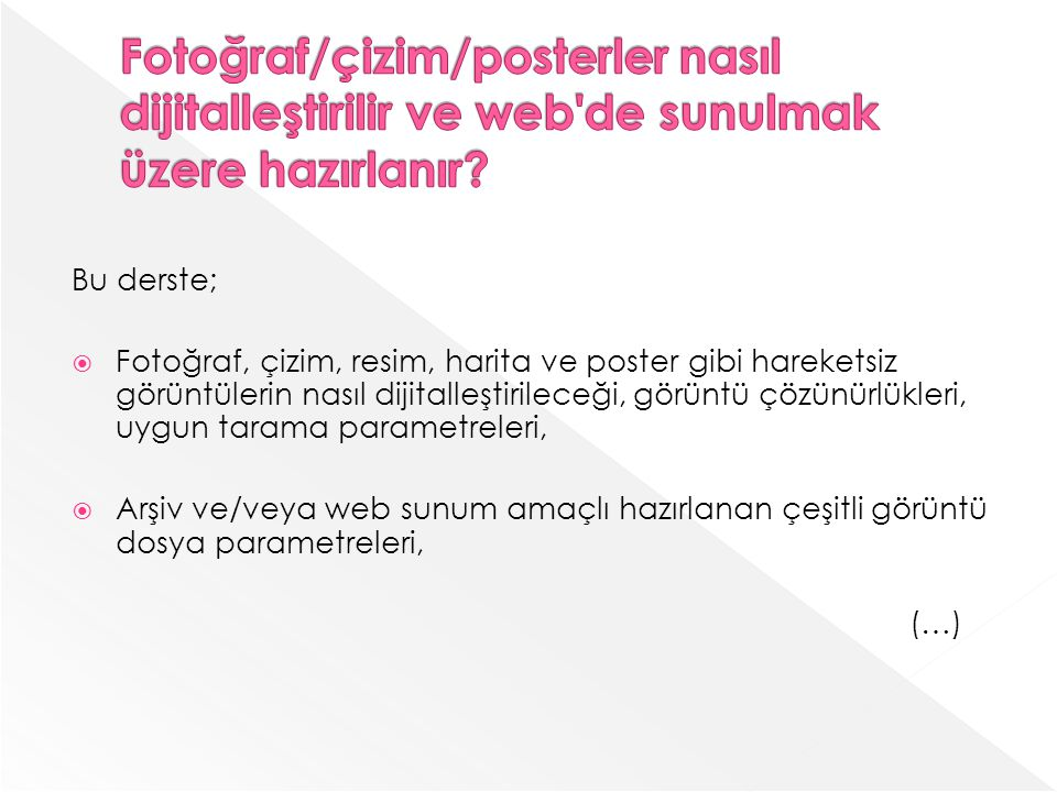 Fotoğraf/çizim/posterler nasıl dijitalleştirilir ve web de sunulmak üzere hazırlanır