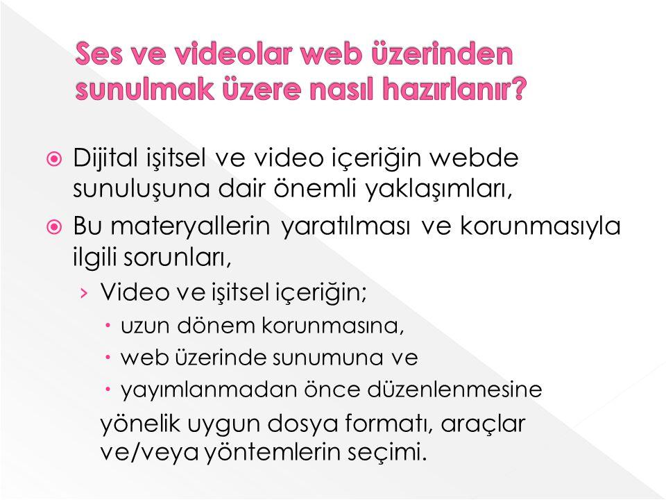 Ses ve videolar web üzerinden sunulmak üzere nasıl hazırlanır