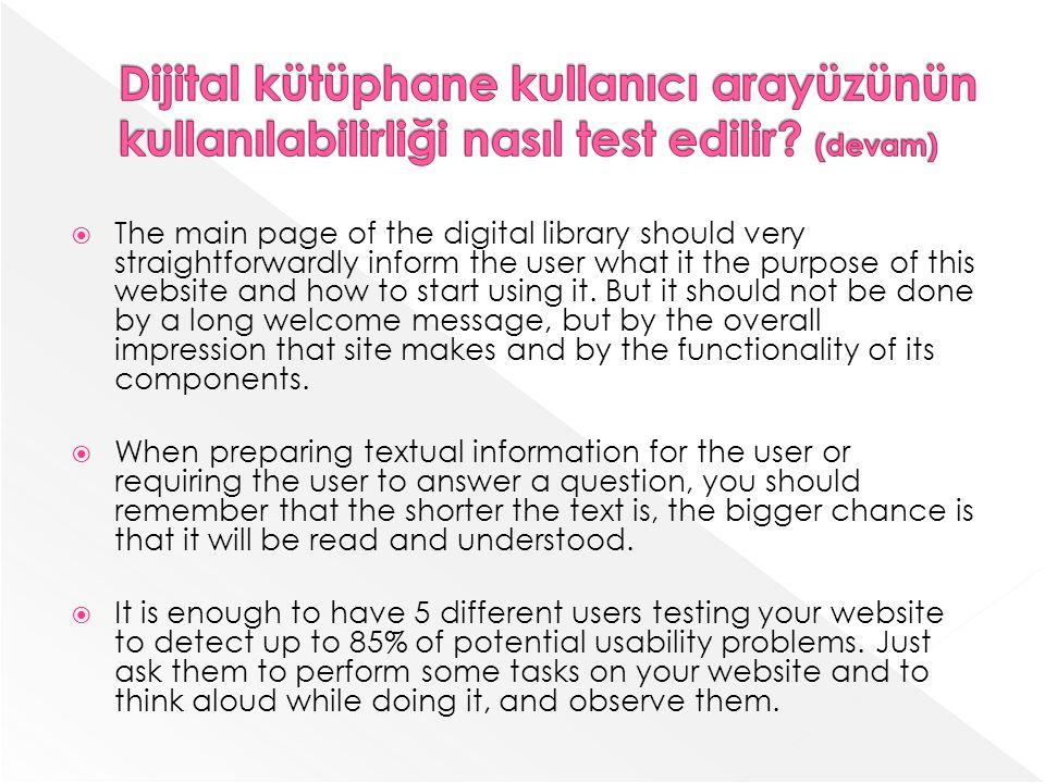 Dijital kütüphane kullanıcı arayüzünün kullanılabilirliği nasıl test edilir (devam)