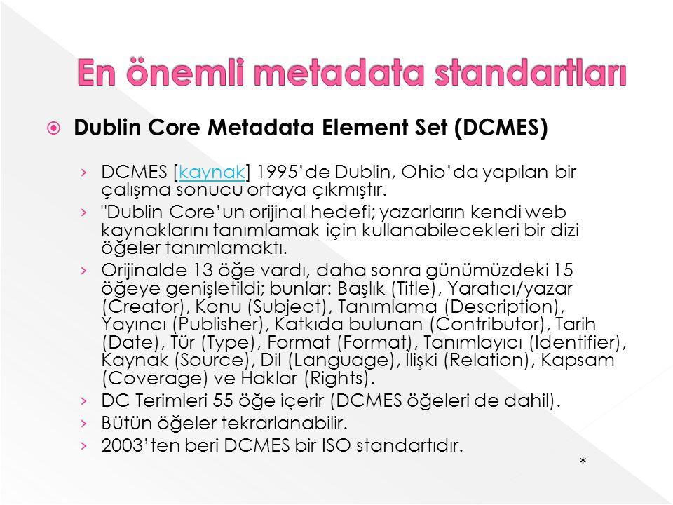 En önemli metadata standartları