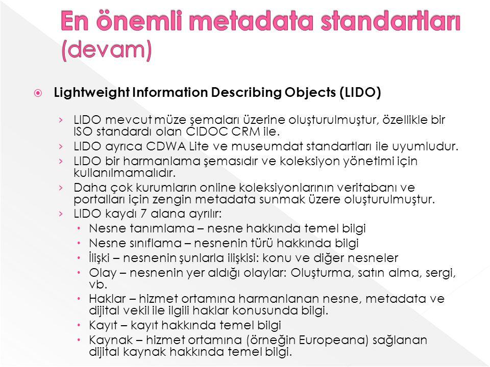 En önemli metadata standartları (devam)