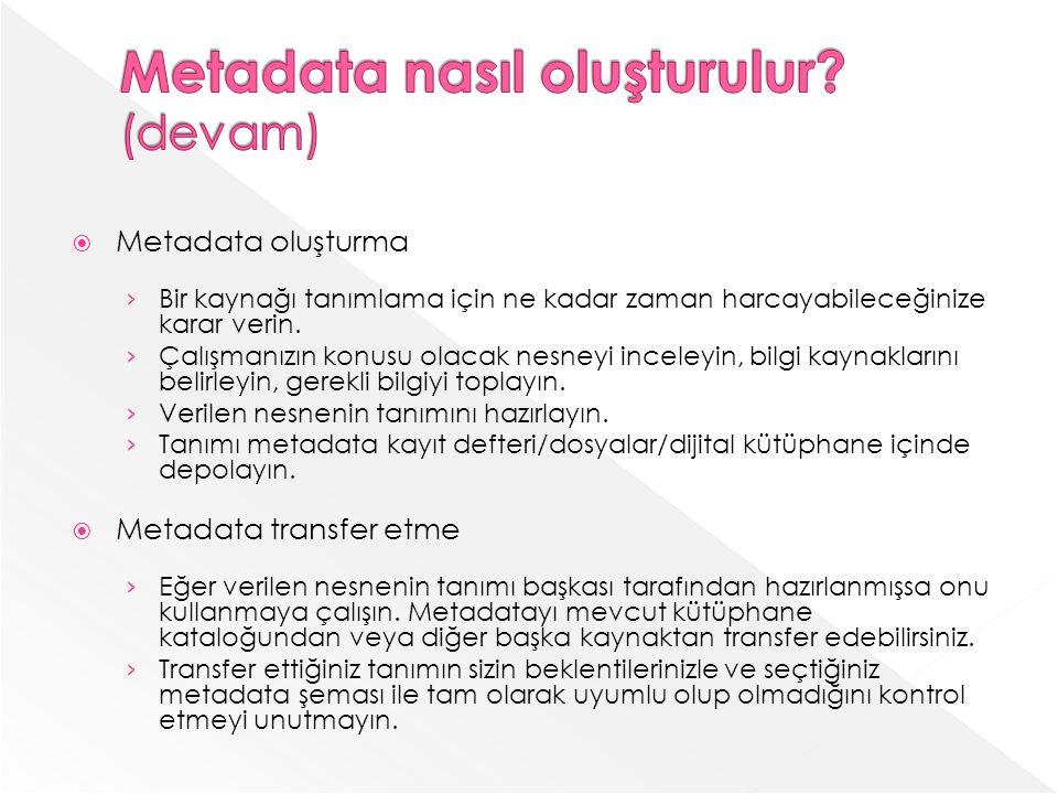 Metadata nasıl oluşturulur (devam)