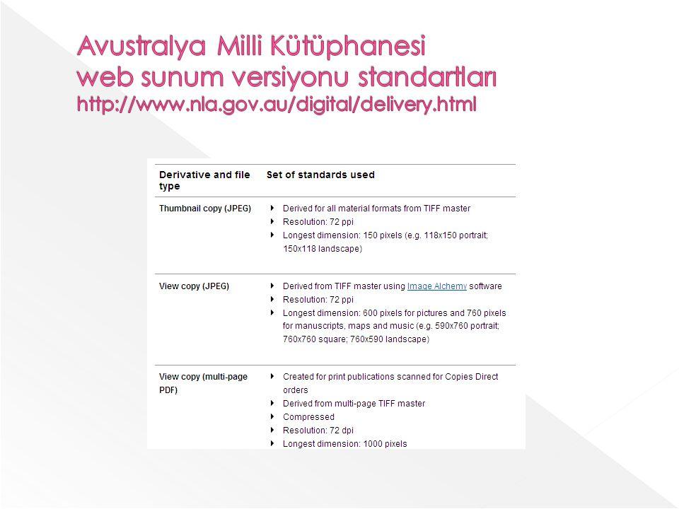 Avustralya Milli Kütüphanesi web sunum versiyonu standartları http://www.nla.gov.au/digital/delivery.html