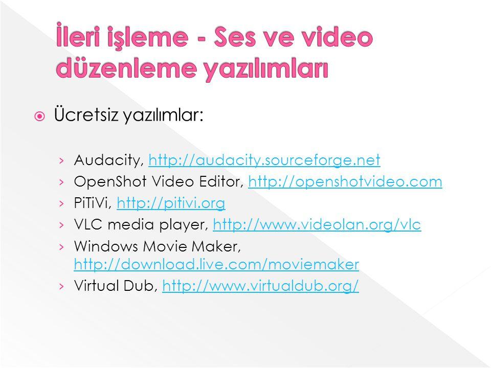 İleri işleme - Ses ve video düzenleme yazılımları