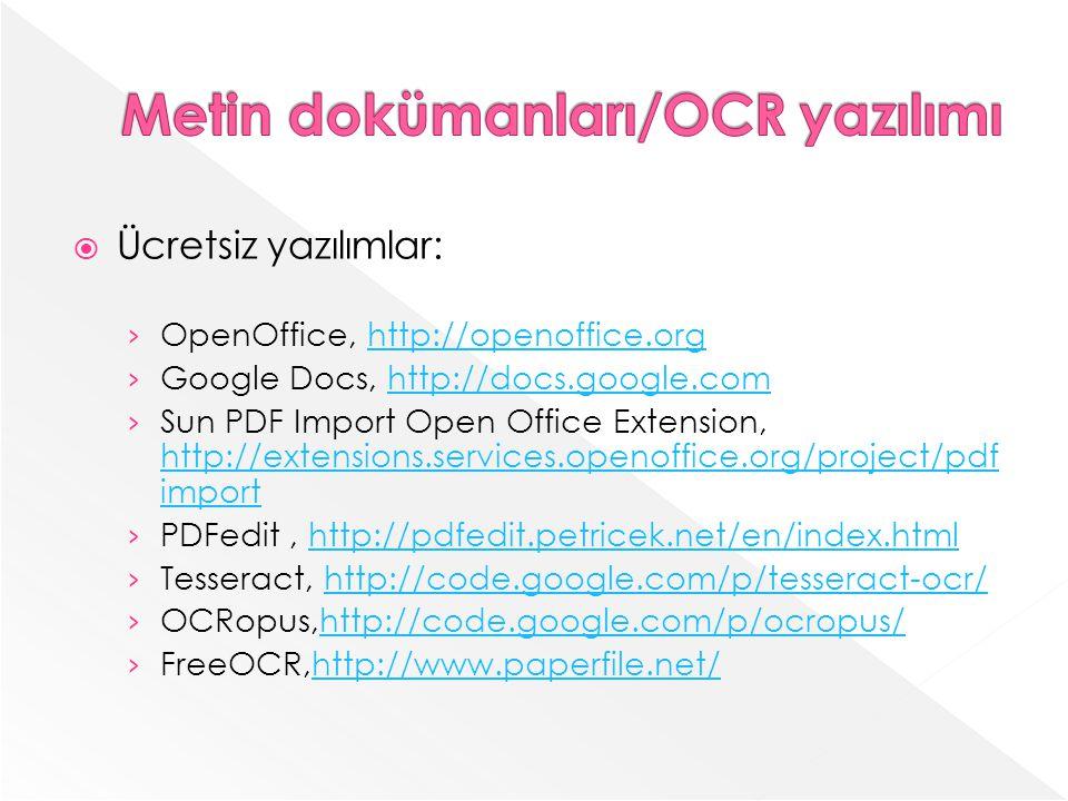 Metin dokümanları/OCR yazılımı