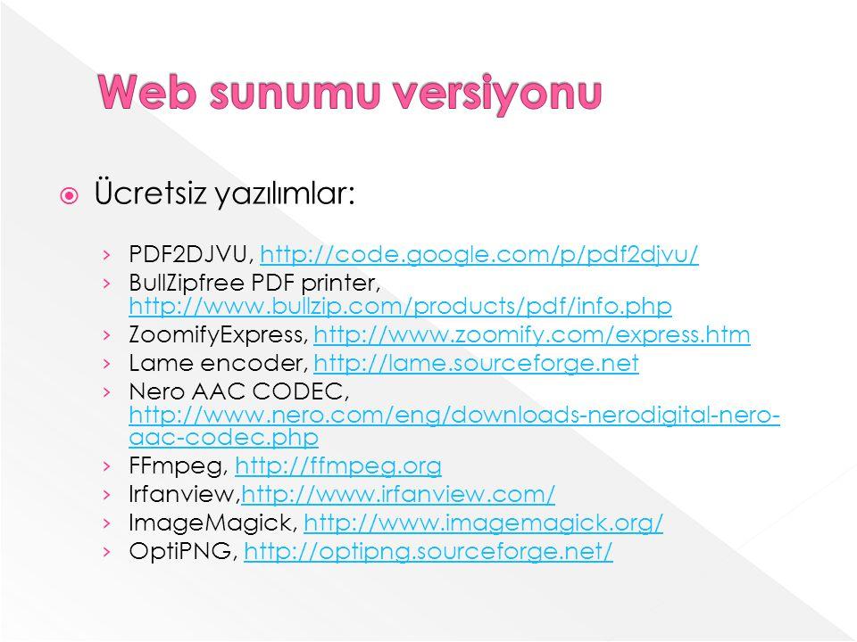 Web sunumu versiyonu Ücretsiz yazılımlar: