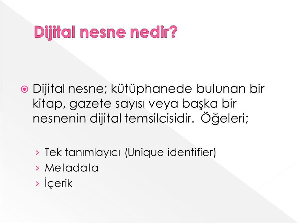 Dijital nesne nedir Dijital nesne; kütüphanede bulunan bir kitap, gazete sayısı veya başka bir nesnenin dijital temsilcisidir. Öğeleri;
