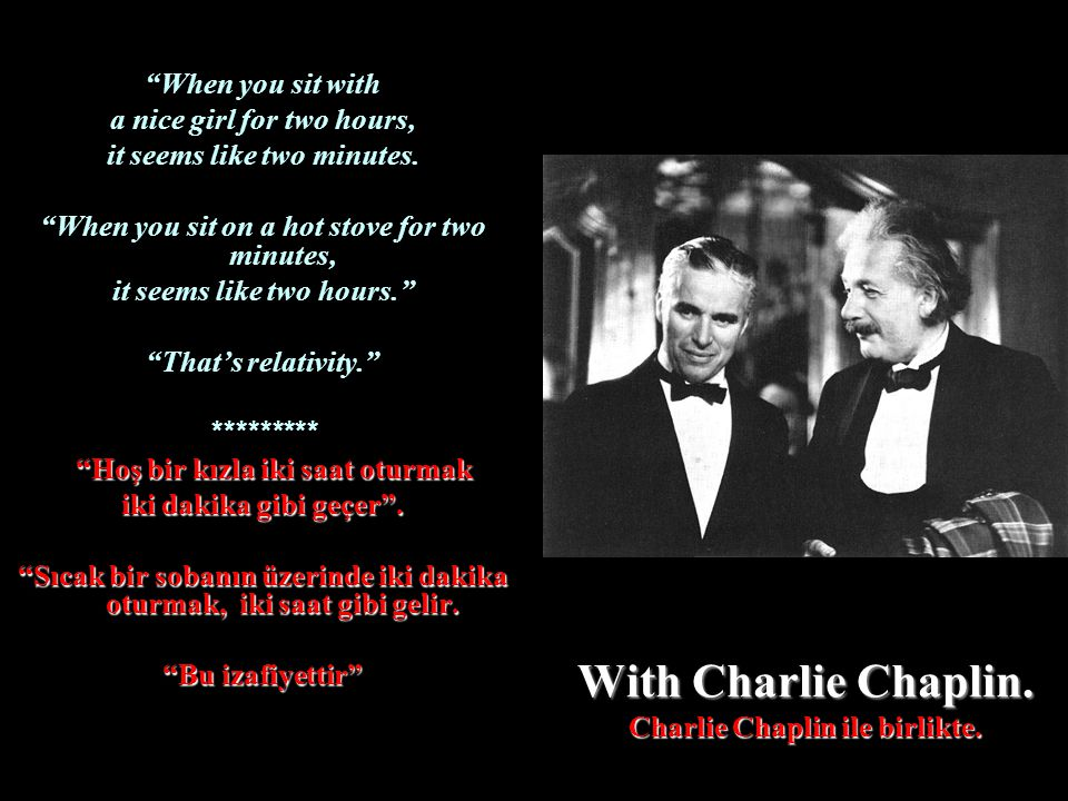 With Charlie Chaplin. Charlie Chaplin ile birlikte.