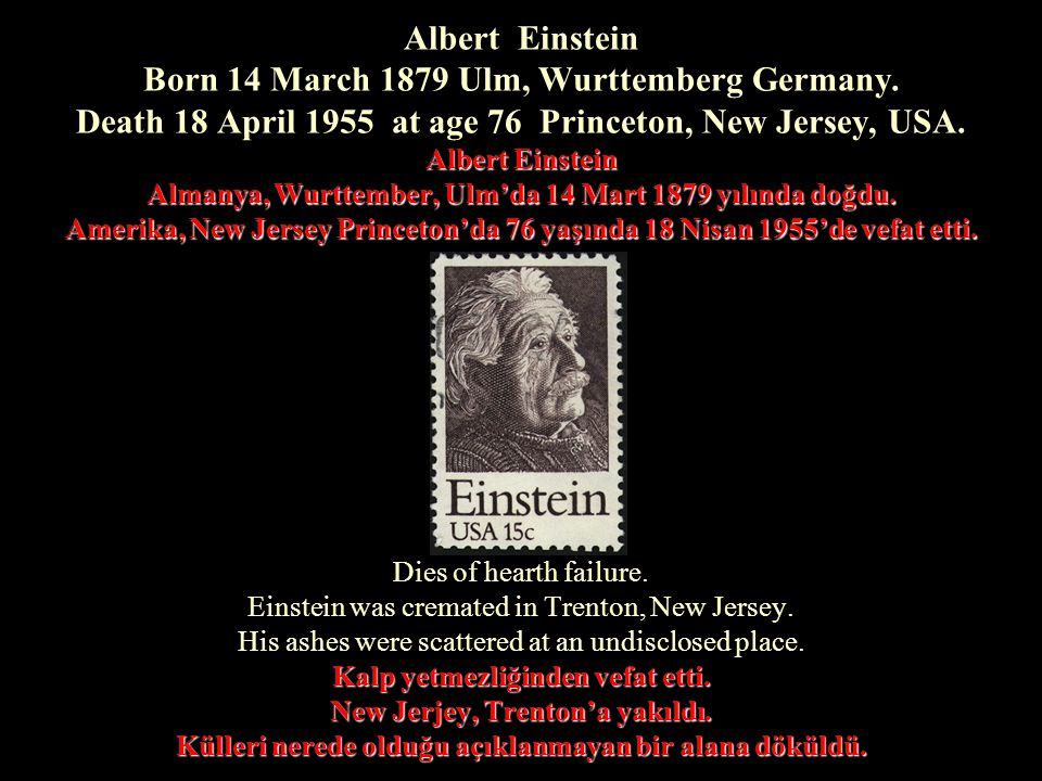 Albert Einstein Born 14 March 1879 Ulm, Wurttemberg Germany