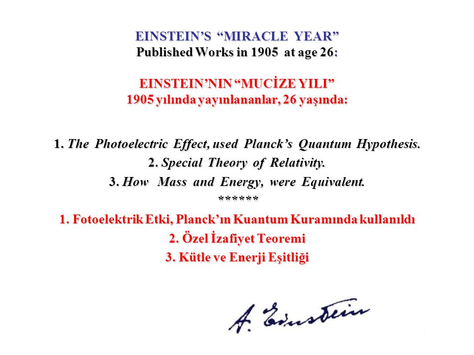 1. The Photoelectric Effect, used Planck's Quantum Hypothesis.