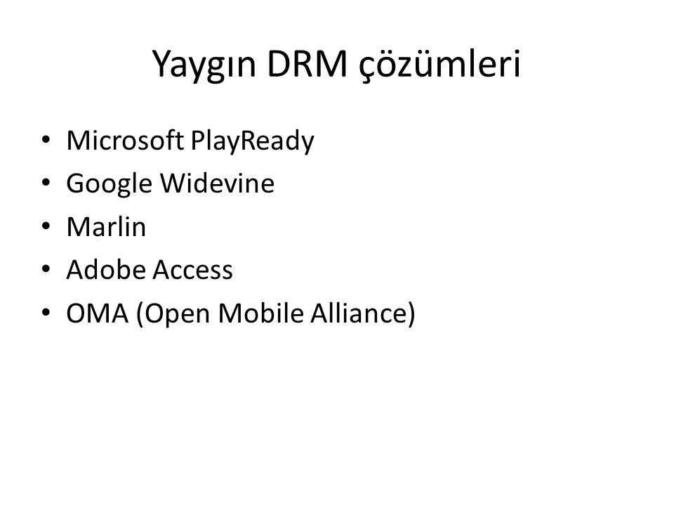 Yaygın DRM çözümleri Microsoft PlayReady Google Widevine Marlin