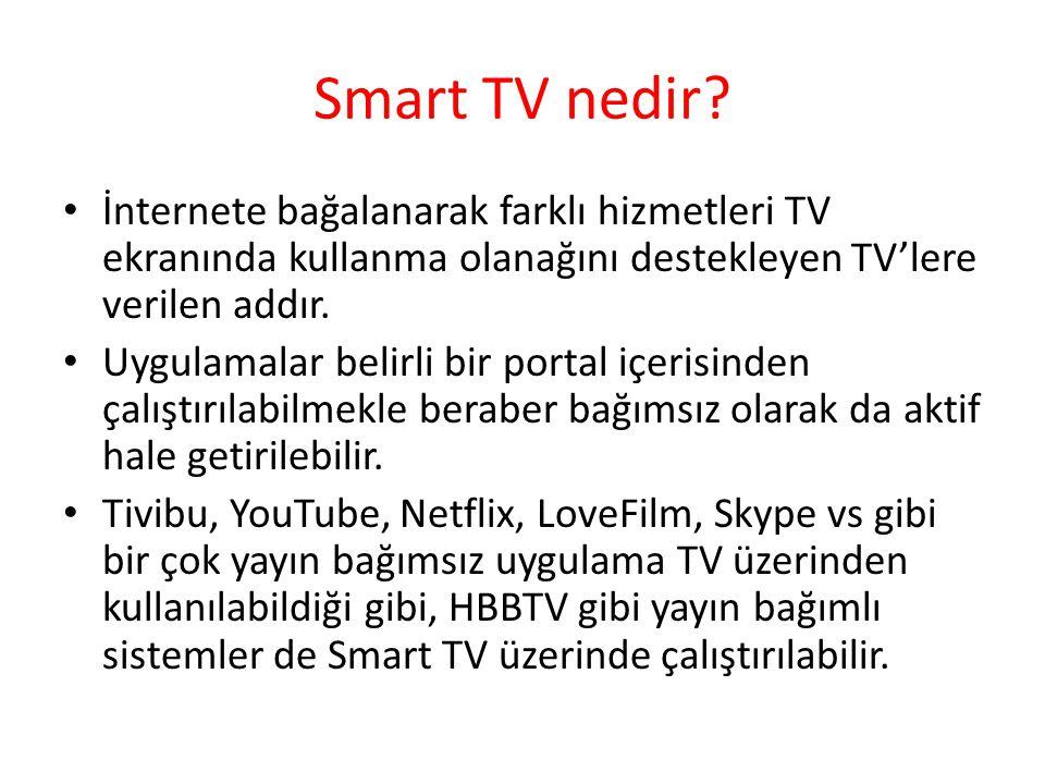 Smart TV nedir İnternete bağalanarak farklı hizmetleri TV ekranında kullanma olanağını destekleyen TV'lere verilen addır.