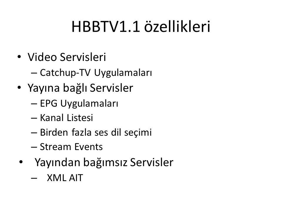 HBBTV1.1 özellikleri Video Servisleri Yayına bağlı Servisler