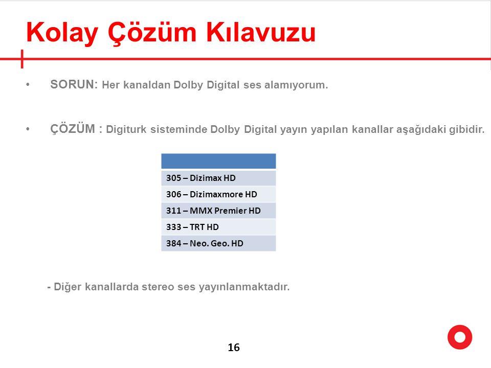 Kolay Çözüm Kılavuzu SORUN: Her kanaldan Dolby Digital ses alamıyorum.