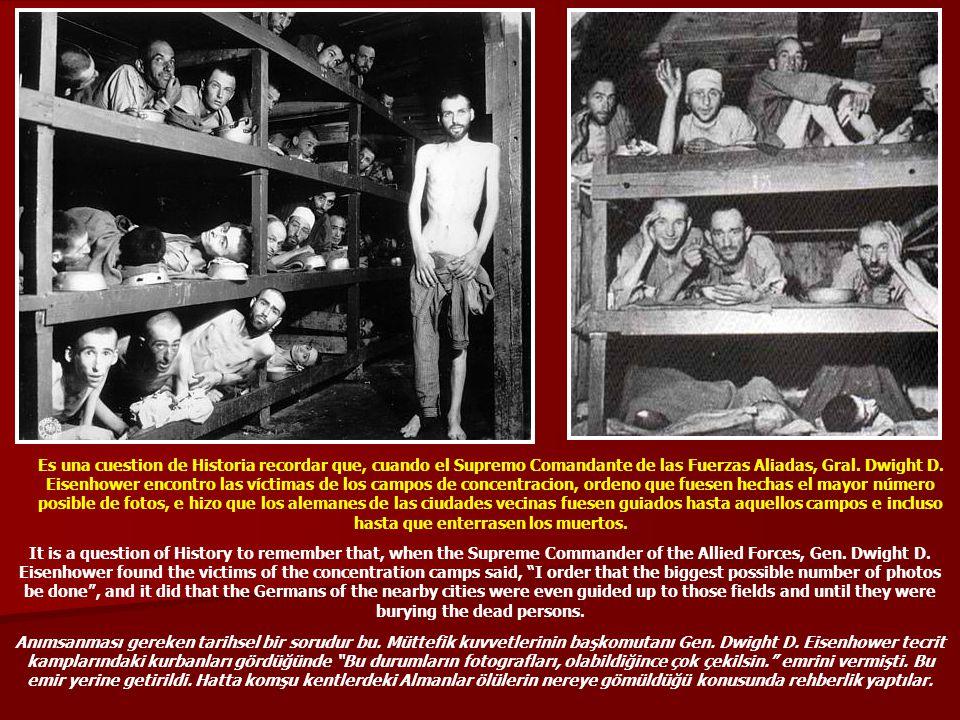 Es una cuestion de Historia recordar que, cuando el Supremo Comandante de las Fuerzas Aliadas, Gral. Dwight D. Eisenhower encontro las víctimas de los campos de concentracion, ordeno que fuesen hechas el mayor número posible de fotos, e hizo que los alemanes de las ciudades vecinas fuesen guiados hasta aquellos campos e incluso hasta que enterrasen los muertos.