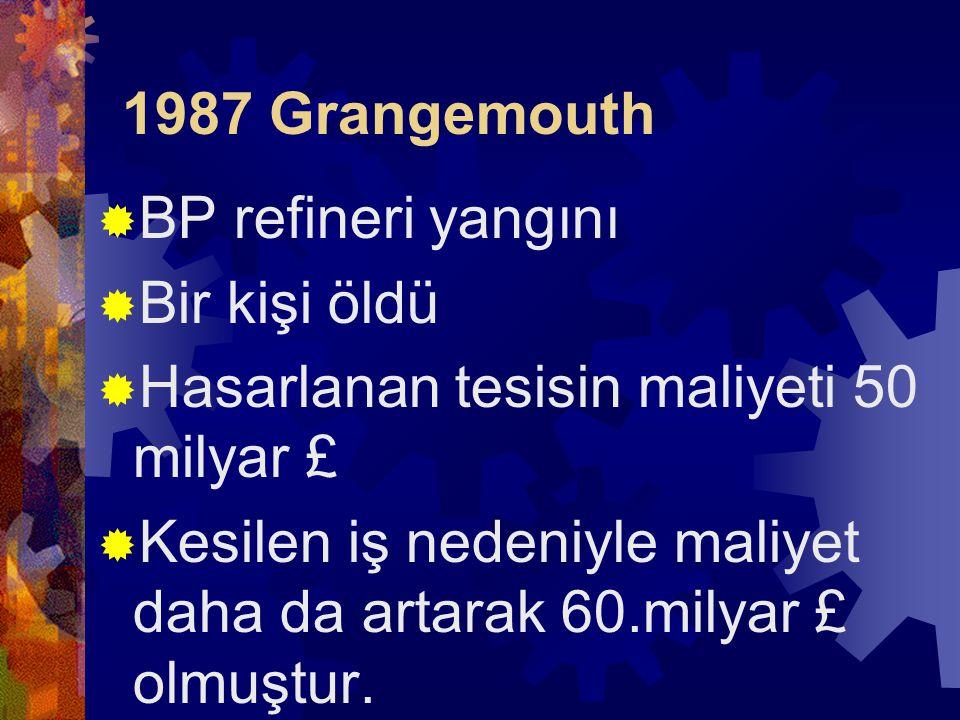1987 Grangemouth BP refineri yangını. Bir kişi öldü. Hasarlanan tesisin maliyeti 50 milyar £