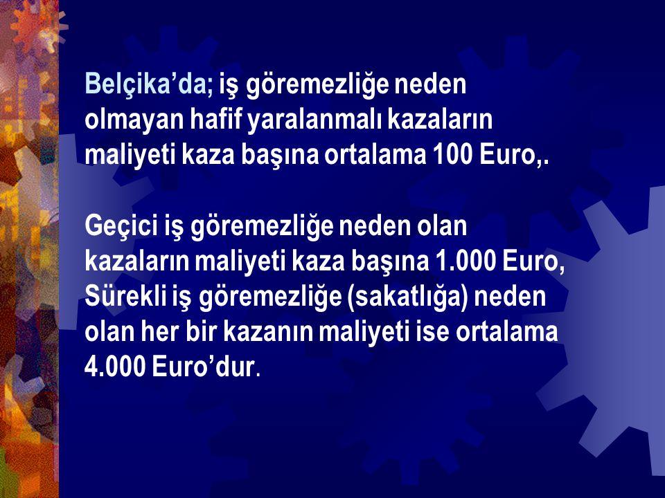 Belçika'da; iş göremezliğe neden olmayan hafif yaralanmalı kazaların maliyeti kaza başına ortalama 100 Euro,.