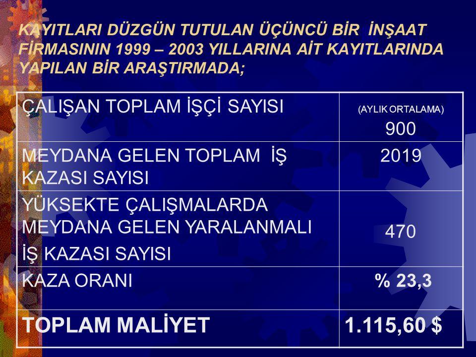 TOPLAM MALİYET 1.115,60 $ ÇALIŞAN TOPLAM İŞÇİ SAYISI