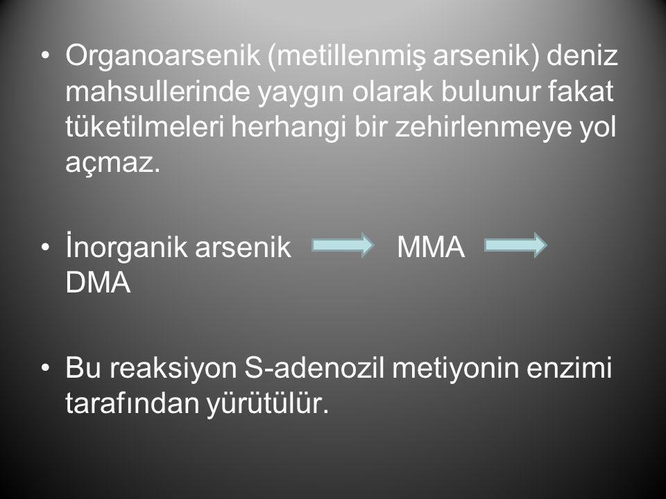 Organoarsenik (metillenmiş arsenik) deniz mahsullerinde yaygın olarak bulunur fakat tüketilmeleri herhangi bir zehirlenmeye yol açmaz.