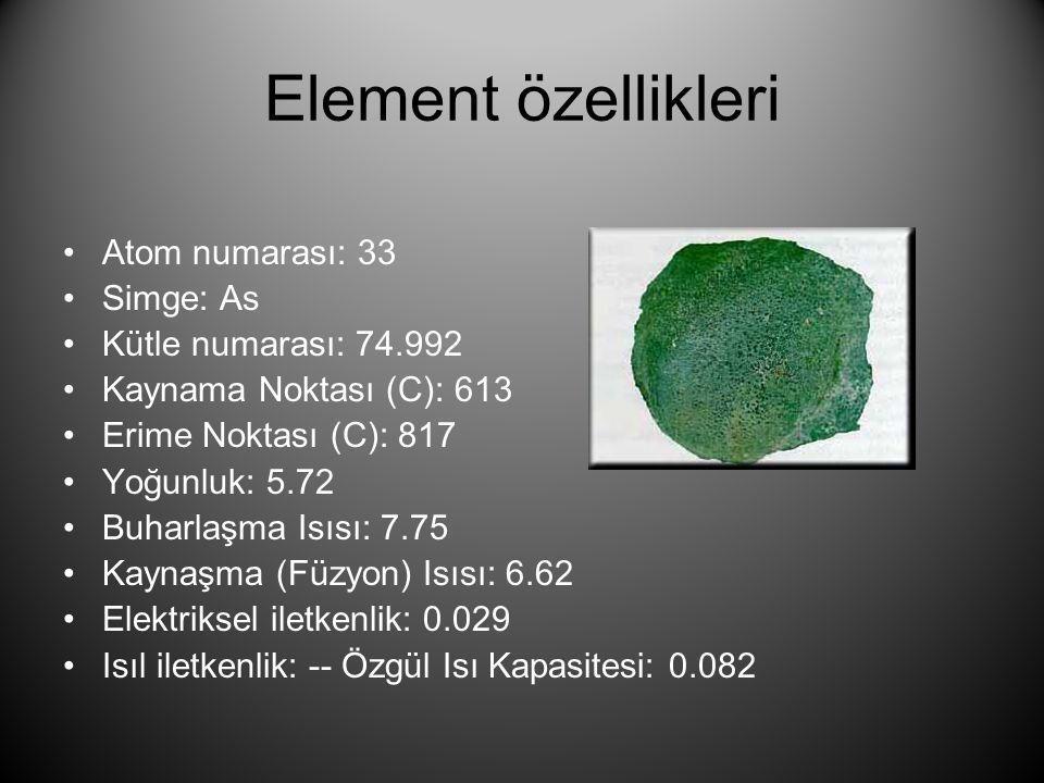 Element özellikleri Atom numarası: 33 Simge: As Kütle numarası: 74.992
