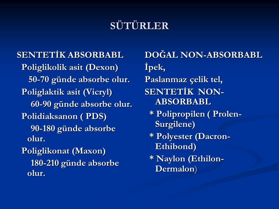 SÜTÜRLER SENTETİK ABSORBABL Poliglikolik asit (Dexon)