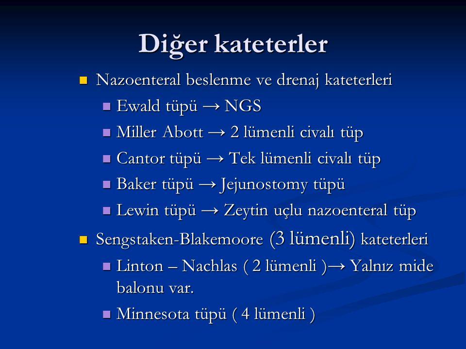Diğer kateterler Nazoenteral beslenme ve drenaj kateterleri