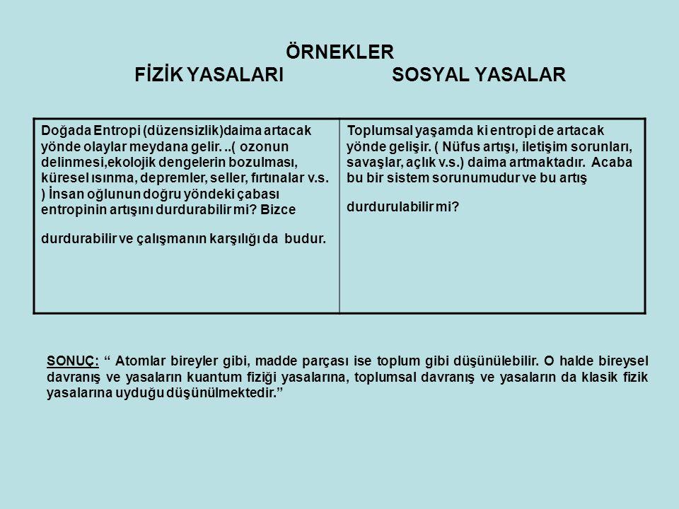 ÖRNEKLER FİZİK YASALARI SOSYAL YASALAR