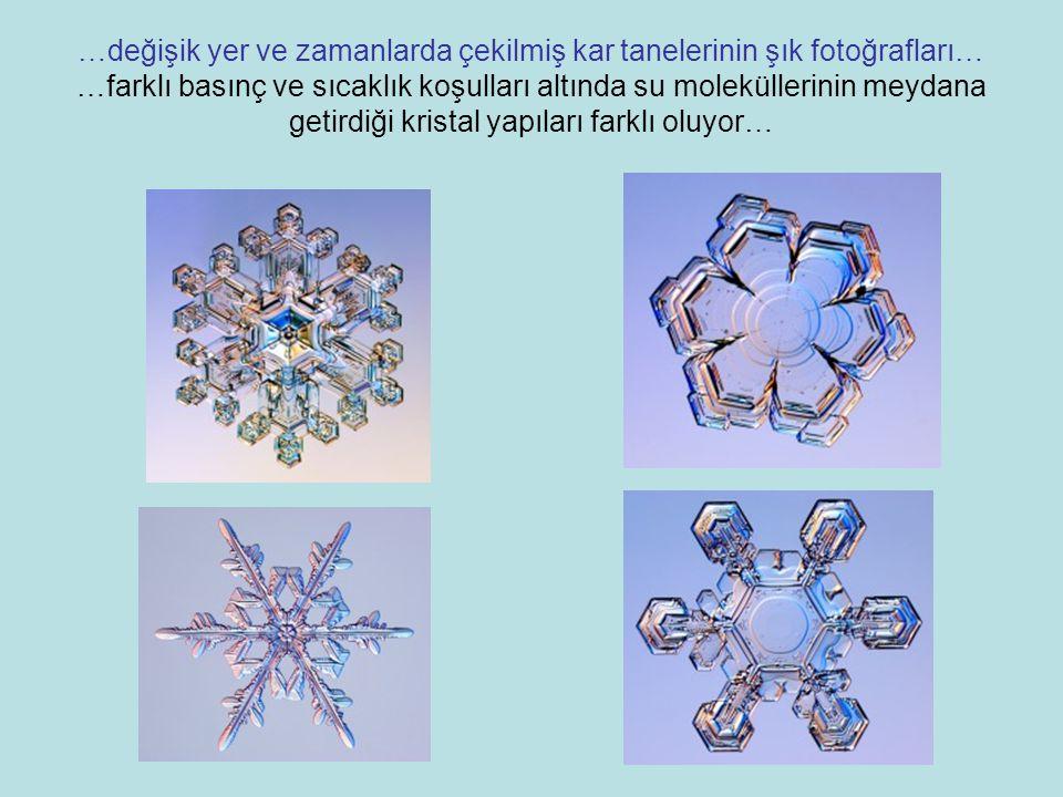 …değişik yer ve zamanlarda çekilmiş kar tanelerinin şık fotoğrafları… …farklı basınç ve sıcaklık koşulları altında su moleküllerinin meydana getirdiği kristal yapıları farklı oluyor…