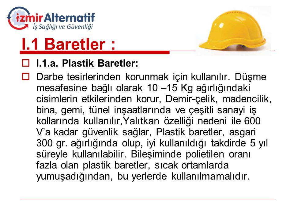 I.1 Baretler : I.1.a. Plastik Baretler: