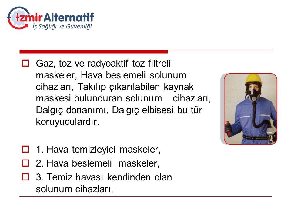 Gaz, toz ve radyoaktif toz filtreli maskeler, Hava beslemeli solunum cihazları, Takılıp çıkarılabilen kaynak maskesi bulunduran solunum cihazları, Dalgıç donanımı, Dalgıç elbisesi bu tür koruyuculardır.