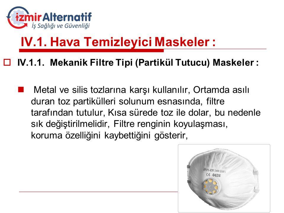 IV.1. Hava Temizleyici Maskeler :