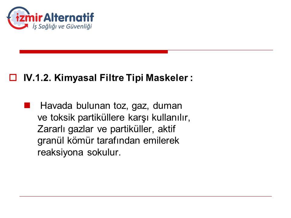 IV.1.2. Kimyasal Filtre Tipi Maskeler :