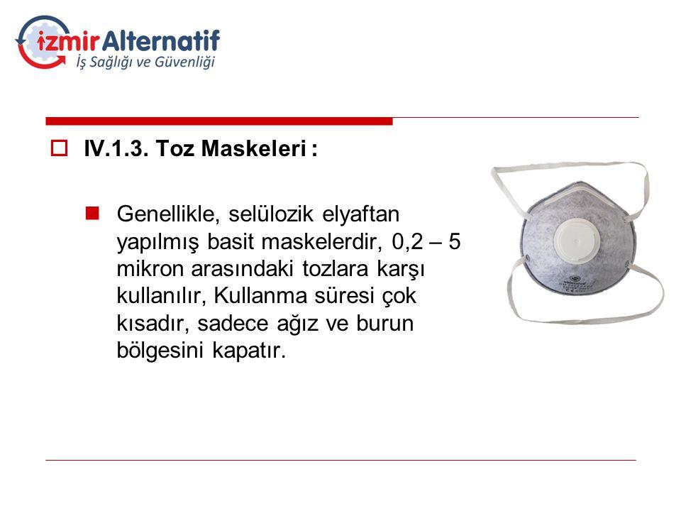 IV.1.3. Toz Maskeleri :