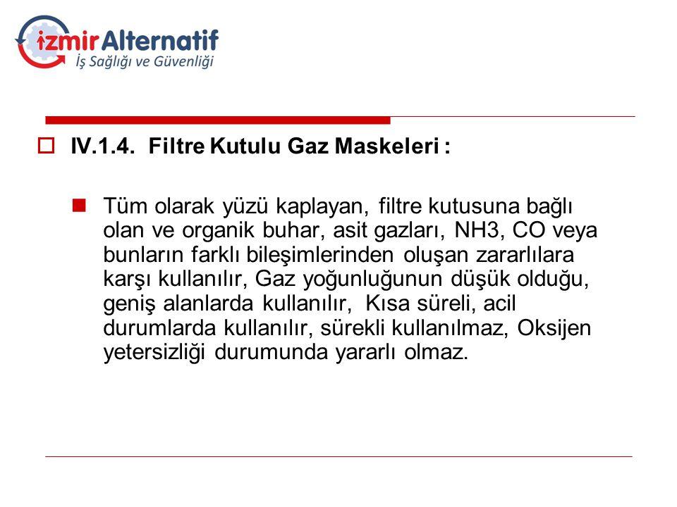 IV.1.4. Filtre Kutulu Gaz Maskeleri :