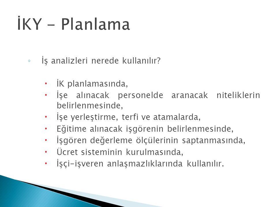 İKY - Planlama İş analizleri nerede kullanılır İK planlamasında,