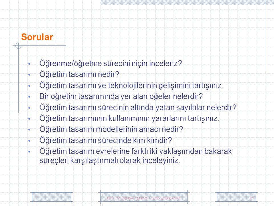 BTÖ 212 Öğretim Tasarımı - 2008-2009 BAHAR