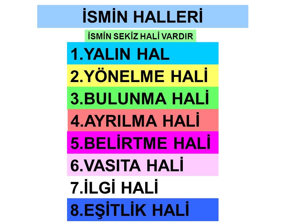 İSMİN HALLERİ 1.YALIN HAL 2.YÖNELME HALİ 3.BULUNMA HALİ 4.AYRILMA HALİ