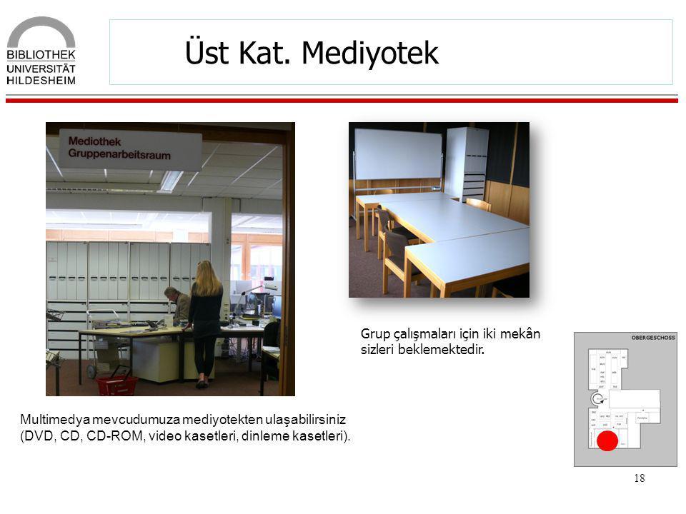 Üst Kat. Mediyotek Grup çalışmaları için iki mekân sizleri beklemektedir.