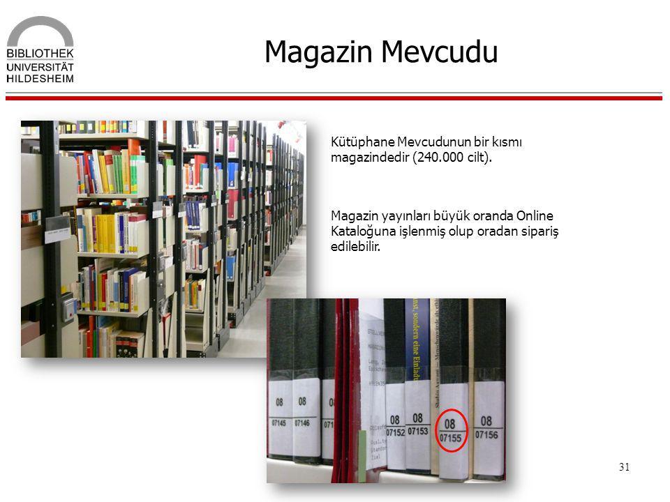 Magazin Mevcudu Kütüphane Mevcudunun bir kısmı magazindedir (240.000 cilt).