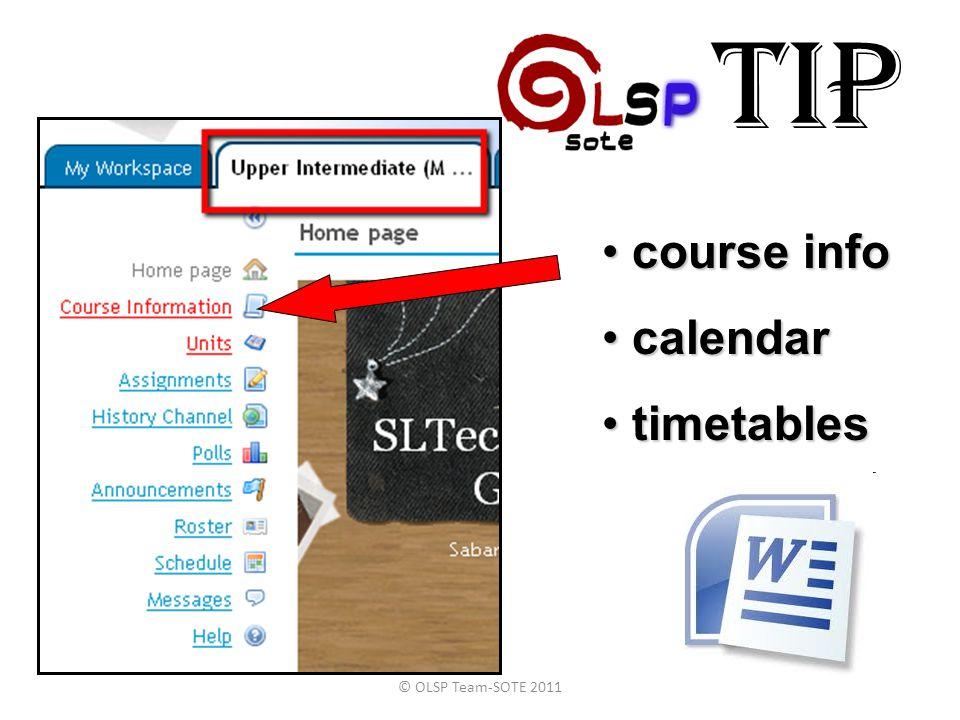 TIP course info calendar timetables © OLSP Team-SOTE 2011