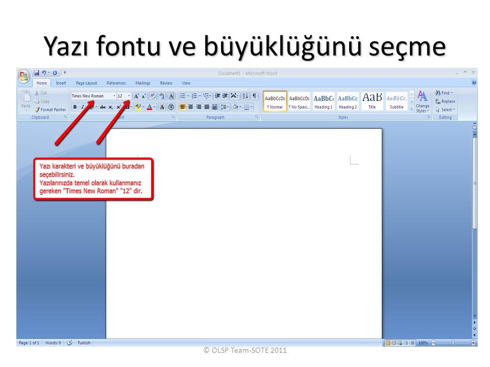 Yazı fontu ve büyüklüğünü seçme