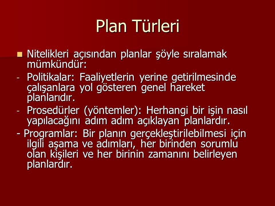 Plan Türleri Nitelikleri açısından planlar şöyle sıralamak mümkündür: