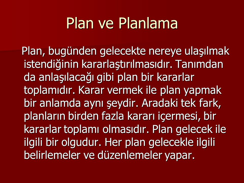 Plan ve Planlama
